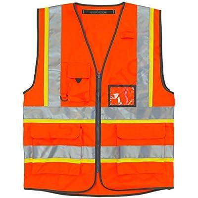 Hi Vis Security Vest Black Reflective Waistcoat with Zip Phone /& ID Pocket M, Black