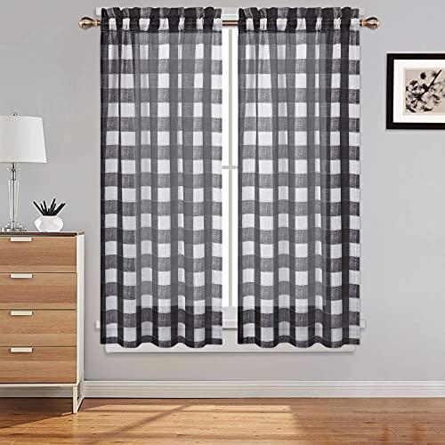 CAROMIO, tenda da cucina, motivo Gingham a quadretti, per bistrò, sala da pranzo, camera da letto, soggiorno, tende decorative, set da 2, 2,71 x 114 cm