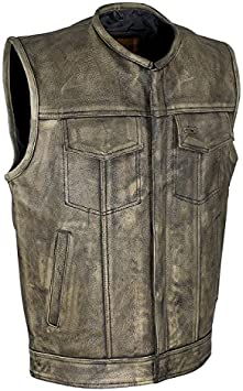 Harley Style Distress Leather Motorcycle Vest Multi Pockets Waistcoat