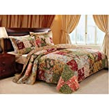 3 Piece Oversized Full Bedspread Quilt Set to The Floor, French Country Patchwork Pattern, Floral Paisley Prints, Red Coral Moss Sage Green Mustard Yellow Golden Tan Navy Blue - Beautiful Colors!