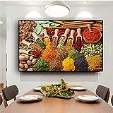 ganlanshu Pintura sin Marco Granos y Especias Cuchara de Cocina Pintura de Alimentos Sala de Estar Arte de Pared PictureCGQ6646 57X95cm