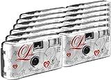 12er Pack Einwegkameras für 27 Farb-Fotos mit integriertem Blitzgerät ideal für Hochzeitsfotos, Party oder Outdoor Film sensitivity (ISO): 400