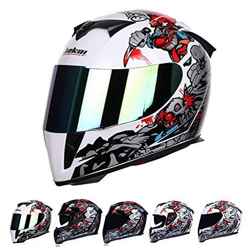 Fullface Motocross Integralhelm Adult,ECE Zertifiziert-Herren Offroad Helm mit Herausnehmbarem Futter,Off Road Helm mit doppelter Schutzbrille Downhill Helme Schutzhelm für Männer Damen,White2,XXL