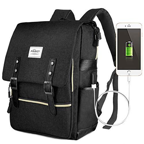 Vintage Laptop Backpack,15 inch Laptop Backpack Puersit Durable Business College Travel Daypacks (All Black)