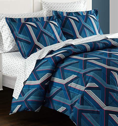Heritage Club Kids and Teen Geometric Hex Comforter Alternative Microfiber – Ultra Soft – Hypoallergenic – All Season Breathable 5 Piece Set, Twin, Blue