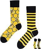 TODO COLOURS Casual Mix und Match Socken - Bee Bee bienen socken - mehrfarbige, verrückte, bunte Socken (35-38, Bee Bee)