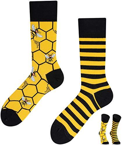 TODO COLOURS Casual Mix & Match Socken - Bee Bee bienen socken - mehrfarbige, verrückte, bunte Socken (35-38, Bee Bee)