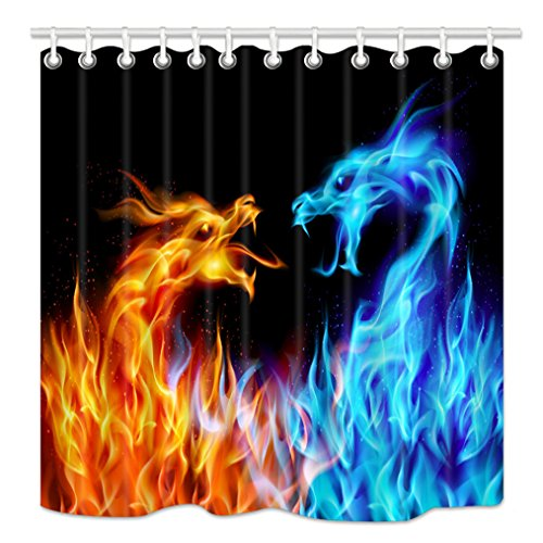 NYMB Ice Fire Dragon Shower Curtain, Medieval Fairytale Wild Animals Shower Curtains for Bathroom, Mythology Decor Waterproof Fabric Bath Curtains 12PCS Hooks, 69X70 inches Blue Red Black
