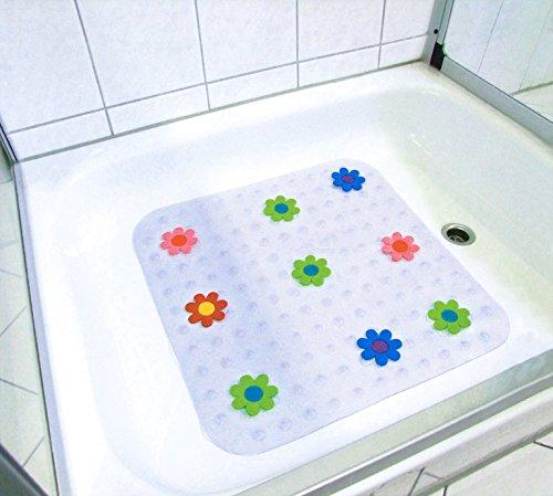 Emanhu Trading Anti-Rutsch-Sticker Duschwanneneinlage Badewanneneinlage Duschmatte Badematte PVC ca. 54x54cm vers. Motive (Blume)