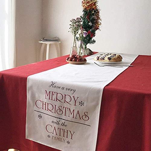 LHQ-HQ Cocina Tabla Corredores de la Tabla de café Grande como Camino de Mesa Mesa de Comedor de Mesa Feliz Navidad Corredor Cubierta manteles Individuales (Color: Blanco, Tamaño: 14''x87 '')