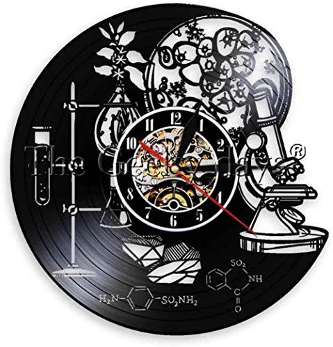 xiaoxong658 Vinyl Wanduhr Biobiologie Chemie Wissenschaft Kreis Vinyl Wanduhr Sauerstoff Molekulare Chemie Formel Kinderzimmer Kindergarten Art Deco Uhr