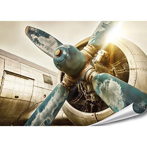 PMP-4life XXL Poster altes Flugzeug   140x100cm   hochauflösendes XXL Fotoposter Propeller-Triebwerk, Wandfoto extra groß, XL Wand-Bild  Wand-deko Bild minimalistisch Retro