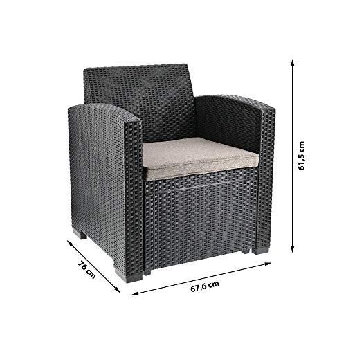 Cepewa Sitzgruppe 4 TLG. Polyrattan inkl. Auflagen für den Outdoorbereich anthrazit/Creme Gartenmöbel Loungemöbel - 5