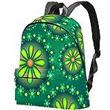 Fleur Verte d'art numérique Sac Teens Student Bookbag Sacs à bandoulière légers Sac à Dos de Voyage Sacs à Dos Quotidiens