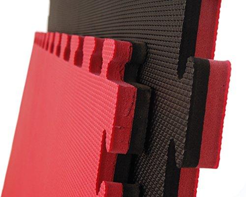 10 x Cannons es Tatami Negro y Rojo Standard Puzzle 1m x 1m x 2cm
