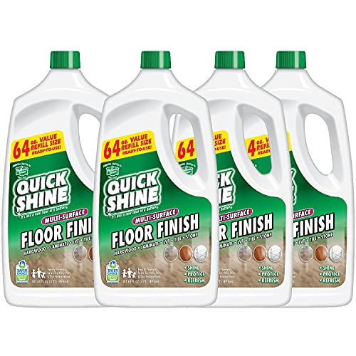 Quick Shine Multi Polish, 64 fl. oz, 4-Pack - A Clean That Can Be Seen, Luxury Vinyl Plank Finish Restores Color & Beauty to All Hard Surface Floors