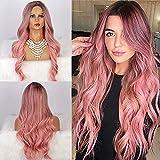 YEESHEDO Perruque Femme Rose Longue Bouclée pour Femmes, Ombre Rouge-orange Naturelle Synthétique Cheveux Perruques pour Cosplay Halloween Fête 26 pouces (Rose)