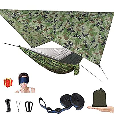 AEETT Camping Hammock with Mosquito Net and Rain Fly - Travel Hammock Bug Net - Hammock Tent for Outdoor Hiking Backpacking Travel Camping Accessories and Camping Gear (camo)