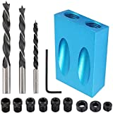 14Pcs Pocket Hole Jig,15 Degree Dowel Drill Joinery Kit, 6/8/10mm Drive Adapter for Woodworking Angle Drilling Holes,Carpenters Woodwork Guides Joint Angle Carpentry Locator