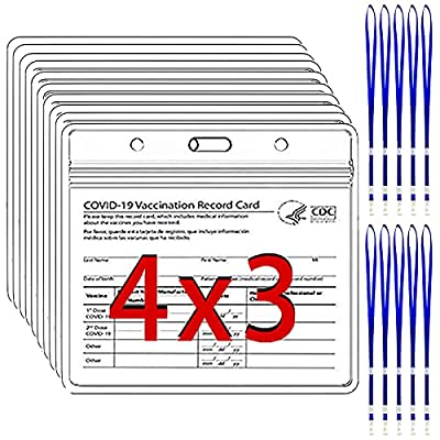 10 Pack - CDC Vaccine Card Protector ID Badge Holders 4 X 3 in, Covid Vaccination Immunization Card Holder with 10 Lanyards, Clear Plastic Sleeves with Waterproof Resealable Zip for Events & Travel