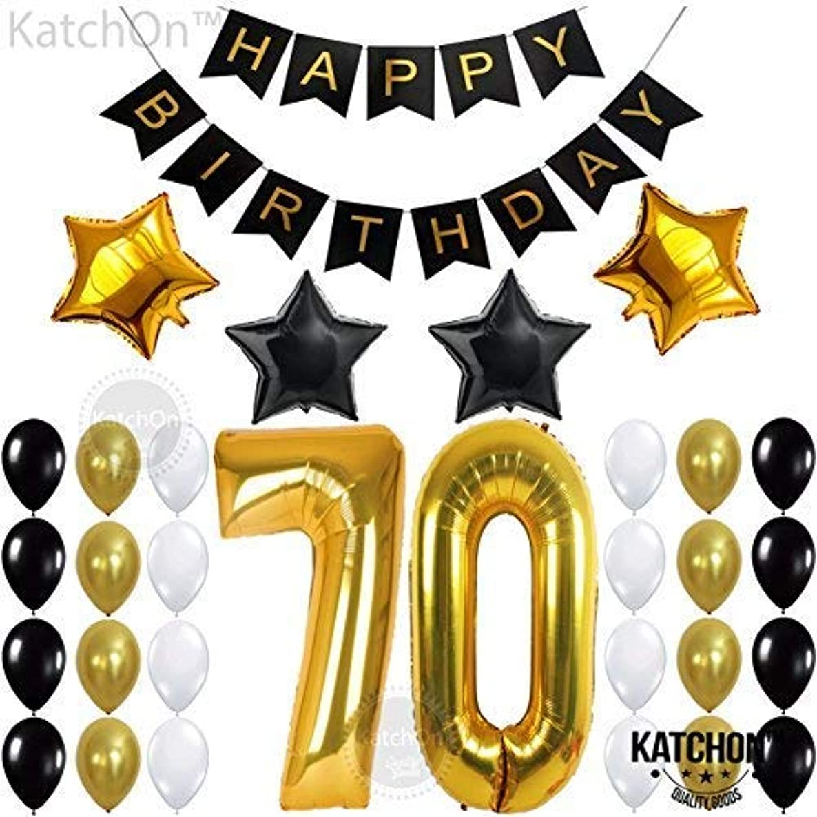 70th BIRTHDAY PARTY DECORATIONS KIT - 70th Birthday Party Supplies | 70 Balloons Number | Black and Gold Banner and Balloons | Great 70 Years Old Party Supplies | 70's Theme Party for Adult