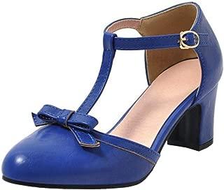 TAOFFEN Women Fashion T Bar Summer Shoes Closed Toe