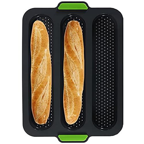 Pane in silicone Stagno per la cottura, 3 slot baguette da forno padella antiaderente pagnotta in scatola con manico per pagnotte da cottura pane francese pane di pane pane panini ( Color : Noir )