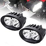 BeiLan 2Pcs Faros Auxiliares de Moto,20W Foco LED Moto Faros Largo Alcance Luces de trabajo Luz delantera auxiliar 12V/24V 3600LM para Moto Camión Off-Road 4X4 ATV Tractor