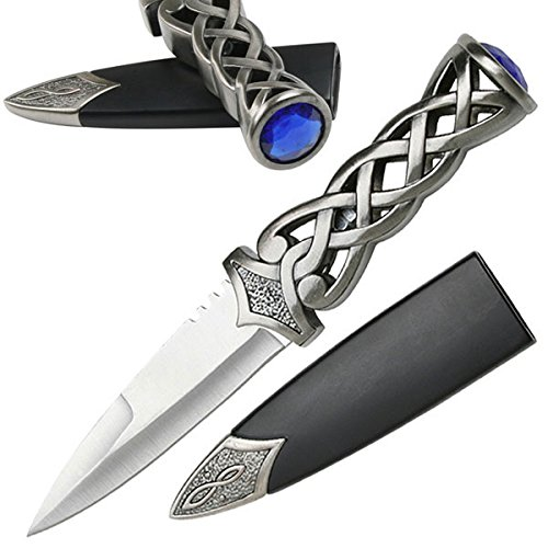 Snake Eye Tactical New Scottish Celtic Gaelic Twist Knot Blue Ruby Gemstone Wicca Dirk Dagger Knife, 9-Inch