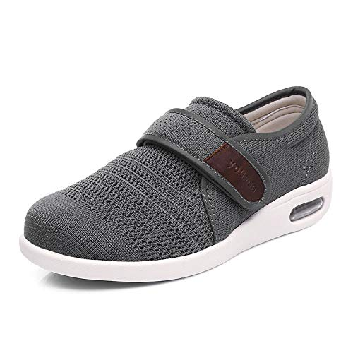 nohbi Zapatillas diabéticas Vendaje Zapatos,Zapatos para diabéticos de Malla hinchada en el pie,Zapatos para el Cuidado del valgo del Pulgar Ancho del pie-48_ Gris,Zapatillas de Velcro para Mayores