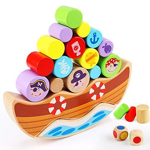 Lewo Juego de Equilibrio de Piratas de Madera Apilamiento Bloques de construcción Montessori Juguetes para niños pequeños