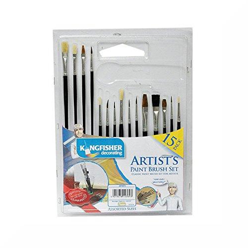 Kingfisher-Set di 15 pennelli per pittura & Set regalo in omaggio