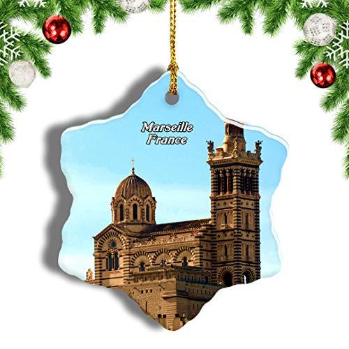 Weekino France Marseille Notre-Dame Christmas Ornament Travel Souvenir Tree Hanging Pendant Decoration Porcelain 1236' Double Sided