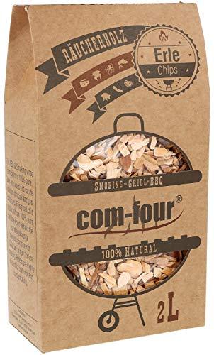 com-four® Premium Räucherchips aus Erlenholz - 100% natürliches Raucharoma Erle - extra grobe Räucherspäne für Smoker, Kugelgrill, Standgrill und Gas-Grill - 500 g