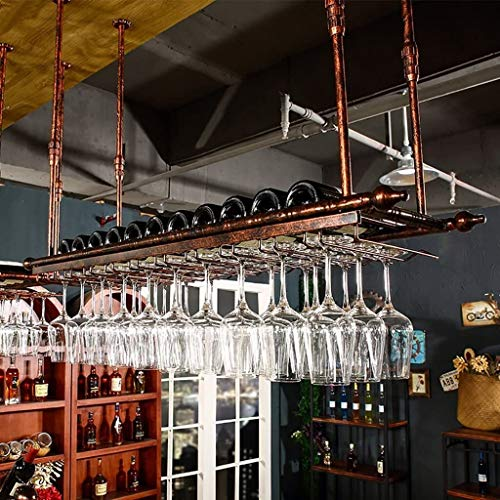 Wine Rack American Style Red Wine Rack Industrial Wind Hanging Wine Glass Holder Loft Red Wine Glass Frame Upside Down Wine Cup Holder Easy To Install Storage rack (Size : 80cm)