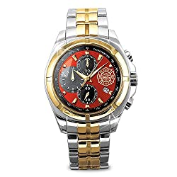 """for My Firefighter"" Men's Chronograph Watch with Engraved Maltese Cross. Expertly handcrafted in stainless steel in a bold bracelet style, with a silver and gold-tone finish Fire red watch face features a golden Maltese cross, a date window and 3 chronograph sub-dials for seconds, minutes and hours"