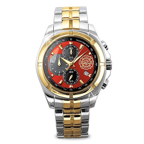 'for My Firefighter' Men's Chronograph Watch with Engraved Maltese Cross