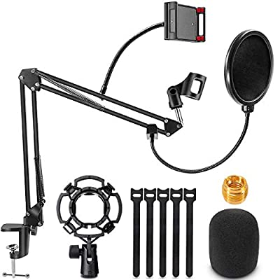 """Microphone Arm Stand, RenFox Adjustable Suspension Boom Scissor Mic Stand with Pop Filter, 3/8"""" to 5/8"""" Adapter, Mic Clip, Upgraded Heavy Duty Clamp for Blue Yeti Nano Snowball Ice and Other Mics"""