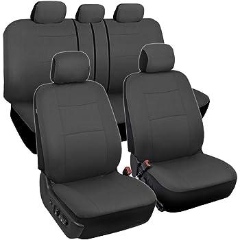 Universal Full Car Seat Covers Set Protectors Black Washable Split Rear Seat