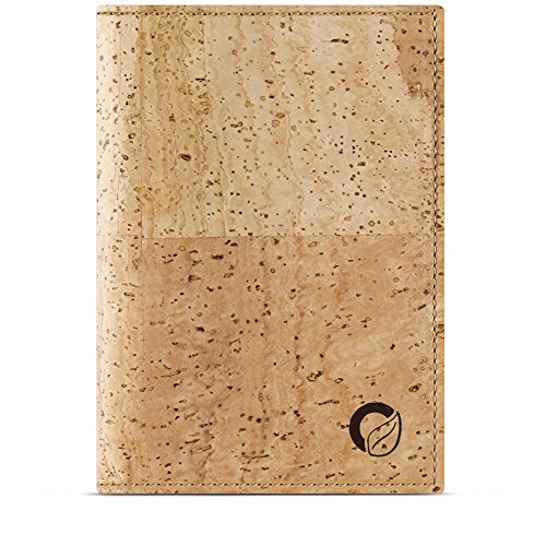 CORKOR Reisepasshülle Etui Brieftasche Herren Bifold Natur-Leder RFID-Schutz Blocker für Kreditkarten Reise-Geldbörse Natur Veganer Korkleder Hellbraun