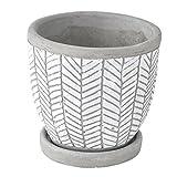 SPICE OF LIFE(スパイス) 植木鉢 レリーフプランター ヘリンボーン ホワイト 直径12.5×12cm セメント 底穴あり 皿付き CCGH1810WH