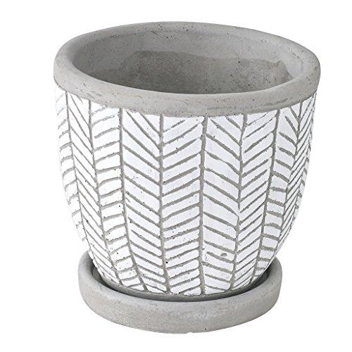 SPICE OF LIFE(スパイス) 植木鉢 レリーフ プランター ヘリンボーン ホワイト 直径12.5×12cm セメント 底穴あり 皿付き CCGH1810WH