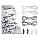 Elastic No Tie Shoe Laces For Adults ,Kids ,Elderly ,System With Elastic Shoe Laces(2 Pairs) White-gray