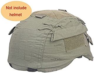 H World Shopping Tactical Military Airsoft Hunting Helmet Cover W/Back Pouch for MICH 2001 OD Green