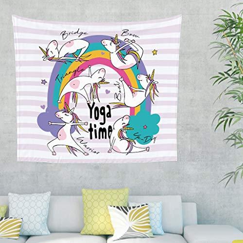 Gamoii Tapiz para colgar en la pared, diseño de arcoíris, unicornio, yoga, playa, meditación, colchonetas cómodas, para dormitorio, playa, 230 x 150 cm, color blanco
