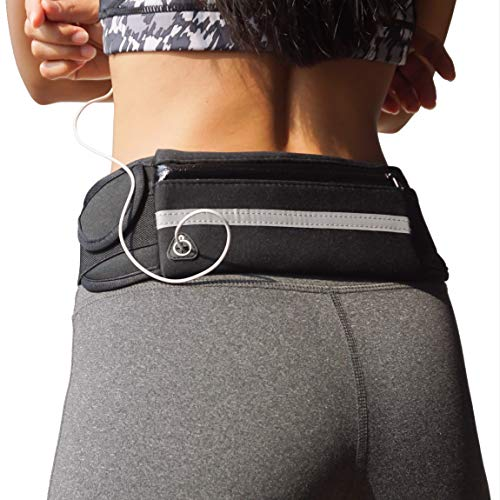 Dapper&Doll Running Belt Phone Holder with Key Pouch - Fits Large Cell Phones - Fanny Pack for Women and Men - Comfortable Waist Pack for Workout, Fitness, Jogging, Exercise (Black)