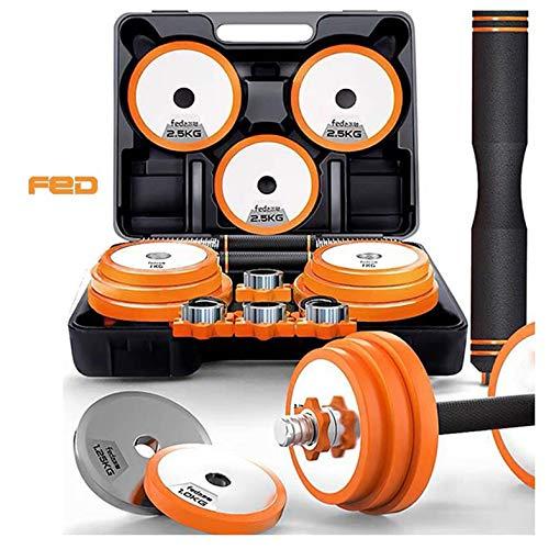 FED Kurzhanteln und Langhantel in einem 3er Set Gewichte zwischen 15-30kg zur Auswahl, effektives Fitness Krafttraining, Hantel für Dein Zuhause20KG