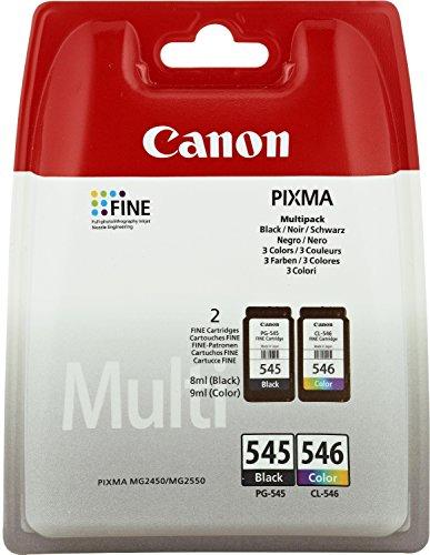 Canon PG-545 / CL-546 Inchiostro nero e colorato, capacità standard di colore nero: 180 SS; a colore: 180SS; in confezione da 2 blister (etichetta in lingua italiana non garantita)
