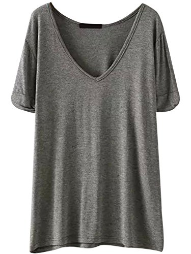 SheIn Women's Summer Short Sleeve Loose Casual Tee T-Shirt Misty Grey Large