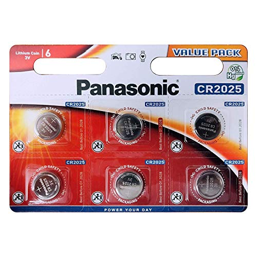5 Stück Premium Blue Panasonic Batterien im Blister (5X CR2025 CR 2025 DL2025 BR2025 KCR2025 LM2025) 3V Lithium